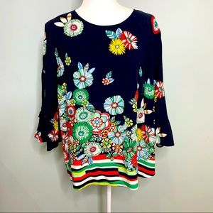 Crown & Ivy Floral Blouse Navy Size 1X